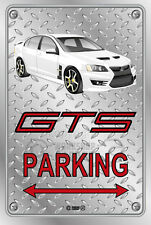 Parking Sign Metal HSV GTS 2010 White - Checkerplate Look