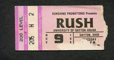 1982 Rush Rory Gallagher concert ticket stub Dayton OH Signals Tour Tom Sawyer