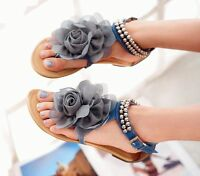 Women's Flower Pearl Ankle Strap flat T-STRAP flip flops Thong Sandals ALL Size