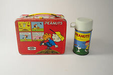 VINTAGE  PEANUTS CHARLIE BROWN SNOOPY METAL LUNCHBOX WITH THERMOS GOOD COND