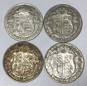 1 x 1918 & 3 x 1924 GEORGE V SILVER HALF CROWN COINS