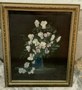 1912 Captain John Wedlake Signed Still Painting Orchid Flowers In Vase On Fabric