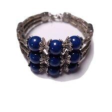 Boho Style Synthetic Lapis Lazuli Stone Blue Tarnished Stainless Clasp Bracelet
