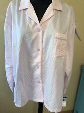 NWT Miss Elaine Pajama Top Sleep Shirt Pink XL