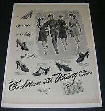 Print Ad 1942 FOOTWEAR Women's Vitality Shoes ART Go Places WW ll Fashion Style