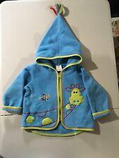 Hanna Andersson Toddler Fleece Jacket w Hood, Blue w Giraffe Size 80 12-18M