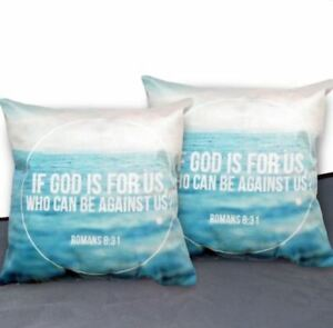 16 x 16 Inches Decorative Square Throw Pillow Case (Romans 8:31) Set of 2