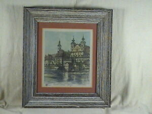 Vintage Hand Colored Etching,  Cathedral Steyr Signed I Arnold's