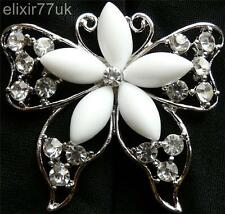 LARGE SILVER BUTTERFLY RHINESTONE CRYSTALS BROOCH WEDDING & BRIDAL DECORATION UK