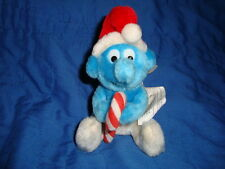 Christmas Smurfs holding candy cane Vintage Plush 6""