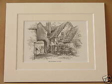 OLD HOSTELRY ELSTOW ANTIQUE MOUNTED ENGRAVING c1890