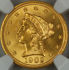 1902 Liberty $2.50 Quarter Eagle Gold Coin, NGC UNC Details (Improperly Cleaned)