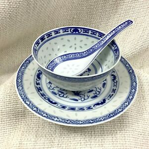 Chinese Porcelain Blue and White Bowl Spoon Rice Grain Dragon Plate Hand Painted