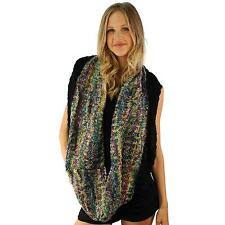 Winter Knit Multicolored Loop Thick Cowl Infinity Scarf Shawl Ski Rainbow Purple