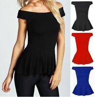 New Women's Ladies Off Shoulder Bardot Peplum Skater Top T-Shirt Size 8-22