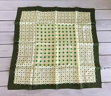 Scarf Square Rain Hair Green Olive Geometric Mod 60s 70s Acetate Twill Japan Vtg