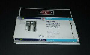 LEVITON STANDARD Wall SWITCHES, 1451-2WM, Interrupteurs BOX OF 10, WHITE