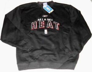 Miami Heat Crew Neck Sweatshirt Embroidered Logos Sleek Black Reebok NBA New