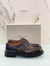 Santoni Uomo Stringata In Pelle Marrone Luxury Shoe 43