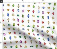 Geometric Diamond Emerald Jewels Gemstone Spoonflower Fabric by the Yard