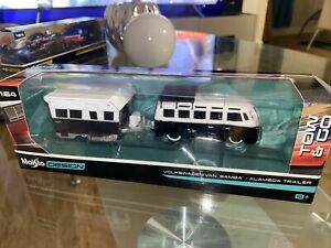 Maisto Die Cast ~ VW Van Samba  Alameda Trailer ~ 1:64 Scale