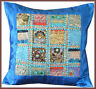 Hand Crafted Vintage Embroidered Patch Work Turquoise Silk Pillow Cushion Cover