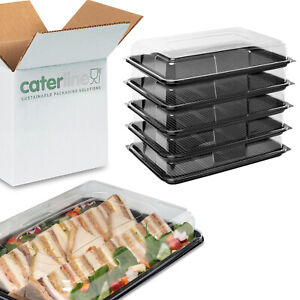 10 x Large Catering Platters/Trays & Lids Reusable & 100% Recyclable Plastic