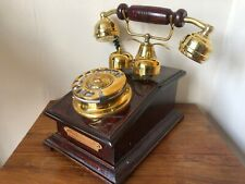 Reproduction Wooden Retro Telephone Rotary Dial Mechanical Bell  Chicago Replica