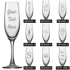 Personalised Engraved Champagne Flute Glass Birthday Gift Christmas Prosecco