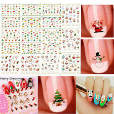 12 Sheet Christmas 3D Nail Art Stickers Cute Snowmen Snowflakes Nail Decals