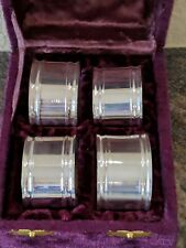 1983 Silver Napkin Ring Set Of 4 made INDIA In Velvet Fancy Case NIB Unused Four