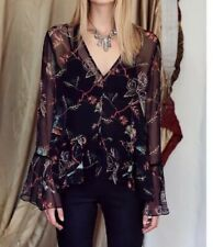 Husk Dark Floral Silk Top Size 2 (Au 8-10)