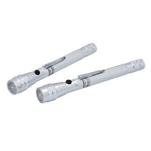 Set of 2 Silver Aluminium 3 LED Flexible Flashlight 4xCR44 Included Pin Holder