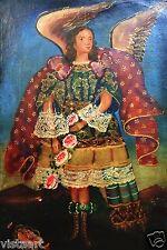 "RARE Cuzco Oil Painting Peru Folk Art 15"" x 23""- ""Beautiful Angel with Roses"""