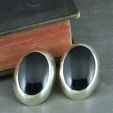 Black Onyx Post Earrings Taxco Mexico Sterling Silver Oval
