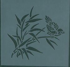 """BIRD & GRASSES FLEXIBLE REUSEABLE STENCIL - APPROX 6""""x 6"""" - IMAGE SIZE 5"""" x 4.5"""""""