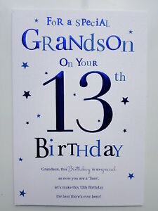 To a Special Grandson 13th Birthday Card