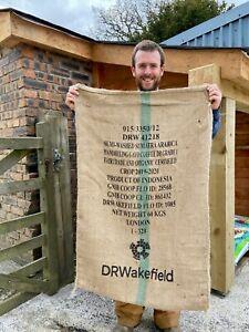 1 Used Empty Coffee Hessian Burlap Jute Bags Sacks Garden Planter Smoker Fuel