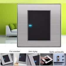 1 Gang 1 Way Modern LED Light Switch Wall Panel Brushed Touch Stainless Steel