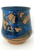 Handmade Cobalt Blue Stoneware Pottery Vase Planter Drippy Glaze Artist Signed