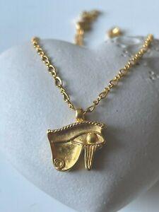 MMA METROPOLITAN MUSEUM ART KING TUT EGYPTIAN GOLD EYE OF HORUS PENDANT NECKLACE
