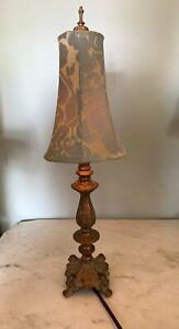 Vintage Antique Copper finish cast metal slim lamp Jacquard shade blue gold