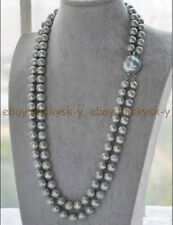 """2 ROWS NATURAL  9-10MM ROUND SOUTH SEA GENUINE GRAY PEARL NECKLACE 21-22"""""""