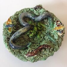 Portuguese Palissy Majolica Ware Dish By Jose A. Cunha Frog Snake Butterflies
