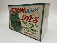VTG Putnam Dyes Country General Store Display Metal Cabinet Sign - Monroe Drug
