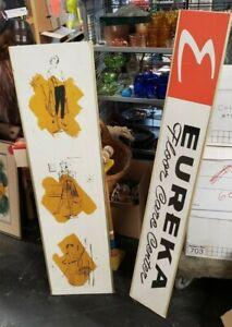 (2) RARE Vintage MCM Eureka Vacuum Cleaner Authentic  Advertising Signs