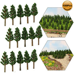 100pcs 1:220 Model Pine Trees Green For N Z Scale Model Train Layout 35mm S3812