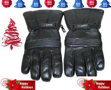 Genuine Leather Motorcycle Gloves Thinsulate Motorbike Biker Glove Black #123