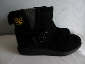 Rocket Dog black leather/ suede round toe, strap/buckle ankle boots size 5 EU 38