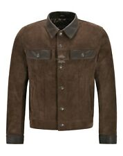 Men Trucker Leather Jacket Brown Suede Skipper Collar Western Shirt Jacket 1280